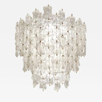 Venini Large Venini Brass and Textured Glass Chandelier
