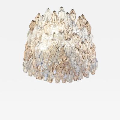 Venini Large Venini Poliedri Murano Glass Chandelier