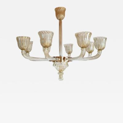 Venini Large clear gold Mid Century Modern Murano glass chandelier Venini style 1970