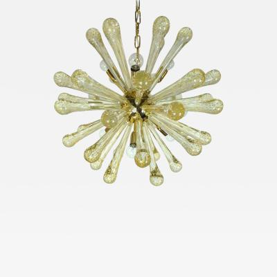 Venini Late 20th Century Italian Gold Flecked Murano Glass and Brass Sputnik Chandelier