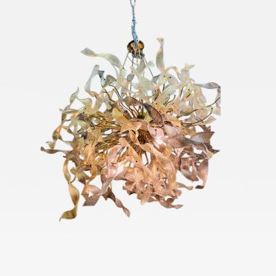 Venini MONUMENTAL MODERNIST GOLD MURANO RIBBON CHANDELIER