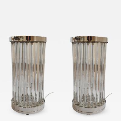 Venini Mid Century Modern Clear Triedri Murano Glass Nickel Table Lamps Venini Italy