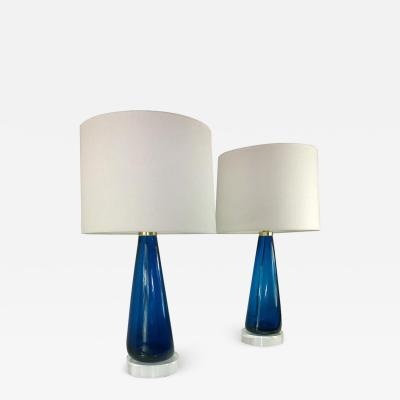 Venini Mid Century Modern Italian Signed Murano Glass w Lucite Bases Table Lamps