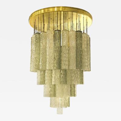Venini Mid Century Modern Style Italian Venini Murano Glass Brass Chandelier