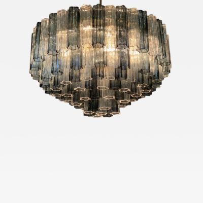 Venini Monumental Mid Century Venini Grey and Clear Glass Chandelier