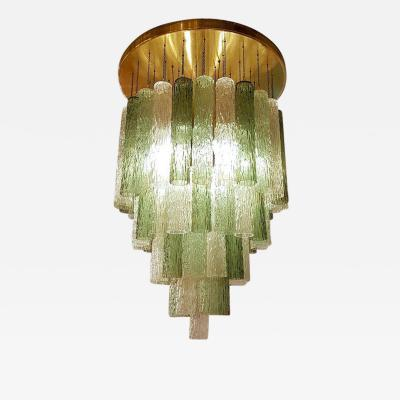 Venini Monumental Murano Glass and Brass Chandelier