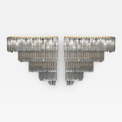 Venini Monumental Pair Of Crystal Wall Sconces by Paolo Venini