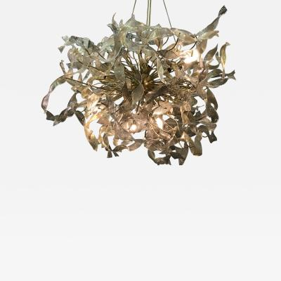 Venini Monumental Pair of Venini Gold Infused Ribbon Cluster Chandeliers