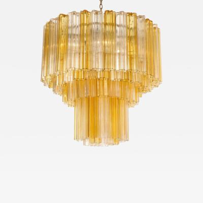 Venini Monumental Venini Tiered Clear and Amber Tronchi Glass Chandelier
