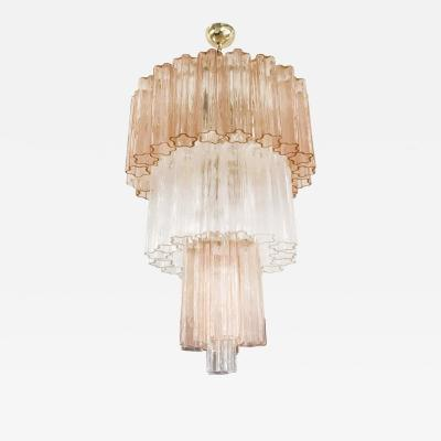Venini Murano Rose and Clear Glass Chandelier
