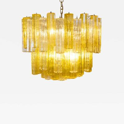 Venini Murano amber and clear Tronchi Chandelier by Venini