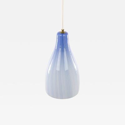 Venini Murano glass pendant with blue stripes by Venini 1960s