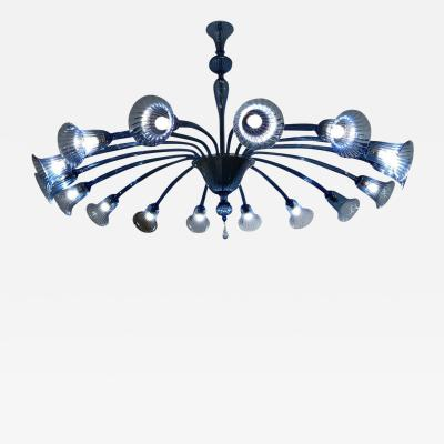 Venini Original Venini Chandelier with Light Blue Blown Glass 1920