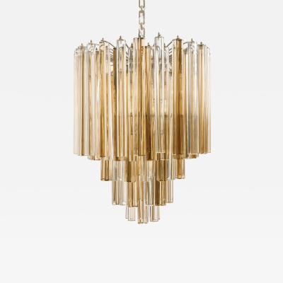 Venini Original Venini Tiered Amber Clear Glass Chandelier from Trilobo Series