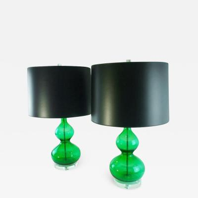 Venini Pair Mid Century Modern Italian Murano Glass Emerald Green Lamps w Lucite Base