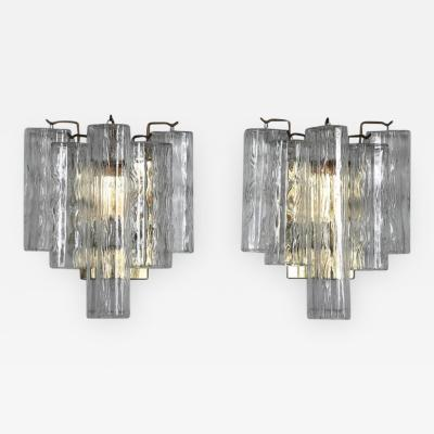 Venini Pair of 1970s Brass Murano Sconces with Tronchi Crystals