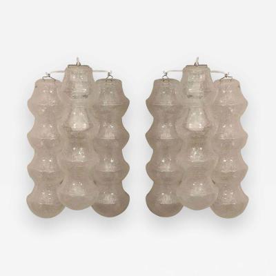 Venini Pair of 1970s Venini Translucent Bubble Glass Sconces