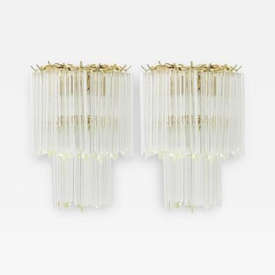 Venini Pair of Glass Wall Sconces Italy 1960s