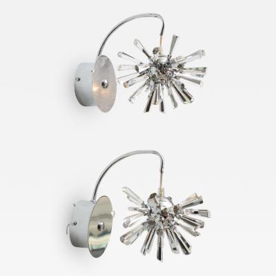 Venini Pair of Italian Modern Polished Chrome and Glass Sputnik Wall Lights