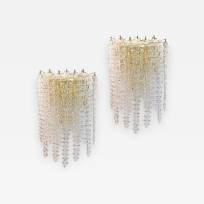 Venini Pair of Large Murano Glass Sconces by Venini