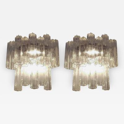 Venini Pair of Large Venini Tronchi Murano Glass Sconces