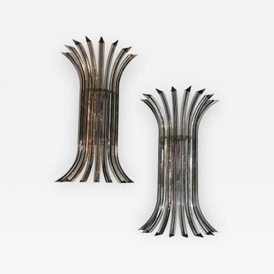 Venini Pair of Mid Century Modern Italian Murano Triedri Glass Sconces by Venini