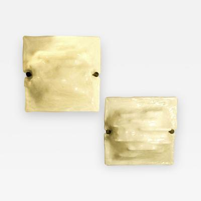 Venini Pair of Mid Century Modern Signed Venini Milk Murano Glass Wall Sconces