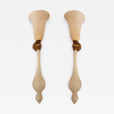 Venini Pair of Mid Century Modern White Gold Murano Glass Lamps