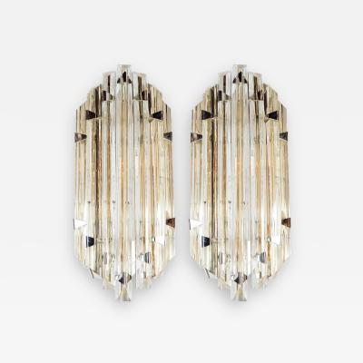 Venini Pair of Mid Century Modernist Sconces by Venini in Pale Amber Murano Glass
