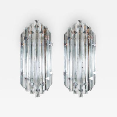 Venini Pair of Mid Century Modernist Sconces in Smoked Murano Glass Nickel