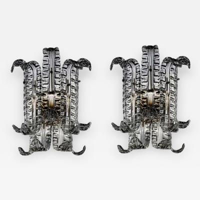 Venini Pair of Murano Glass Sconces In Grey