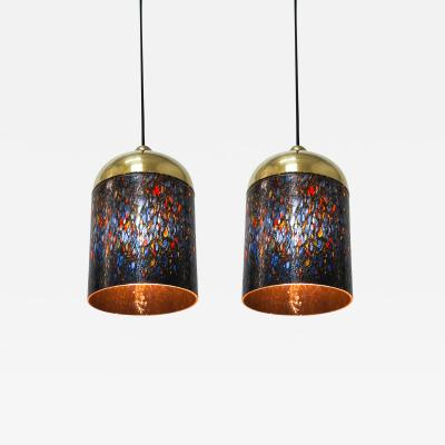 Venini Pair of Murano Glass and Brass Pendants circa 1970