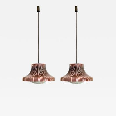 Venini Pair of Pendant Lamps from the Studio Venini Murano Italy