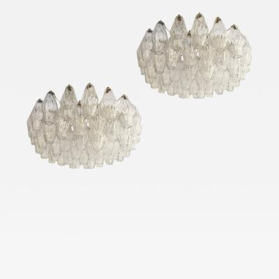 Venini Pair of Poliedri Chandeliers by Venini