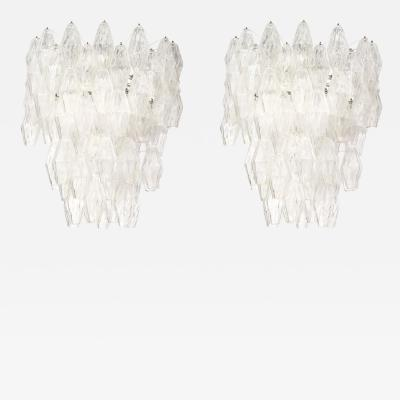 Venini Pair of Poliedri Hanging Fixture by Venini