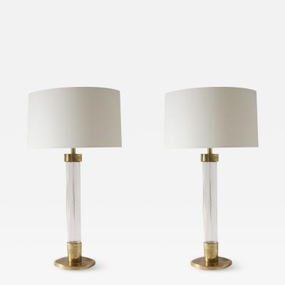 Venini Pair of Transparent Glass Table Lamps
