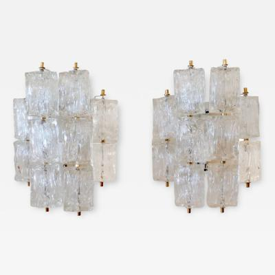 Venini Pair of Venini Glass Wall Sconces