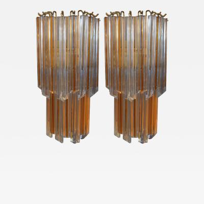 Venini Pair of Venini Sconces with Yellow