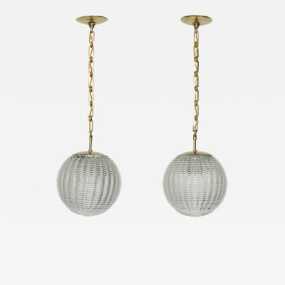 Venini Pair of Venini style ceiling pendants