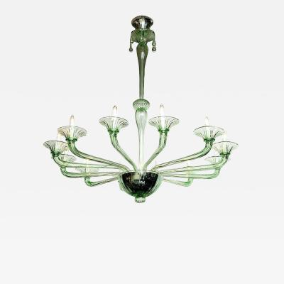 Venini Rare Green Murano Glass Chandelier in the Manner of Venini Italy 2019