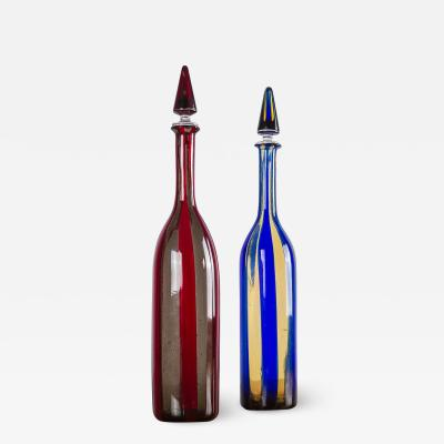 Venini Rare Pair of Bottles by Fulvio Bianconi and Paolo Venini