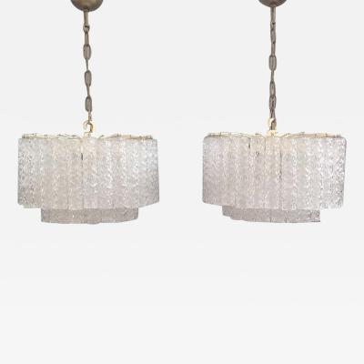 Venini Rare Pair of Chandeliers by Venini