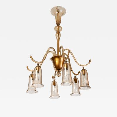 Venini Rare Venini Blown Glass Chandelier in Straw Colored Glass ca 1930