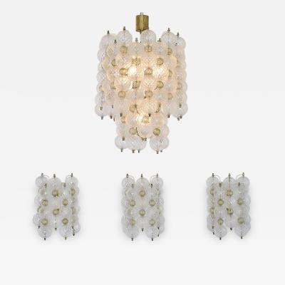 Venini Rare collectable set of a chandelier and 3 wall lights Balloton by Venini