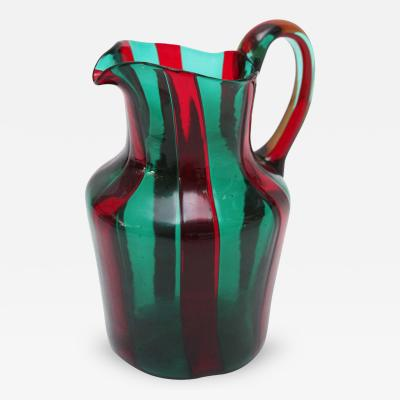 Venini Red and Green Murano Glass Pitcher by Venini