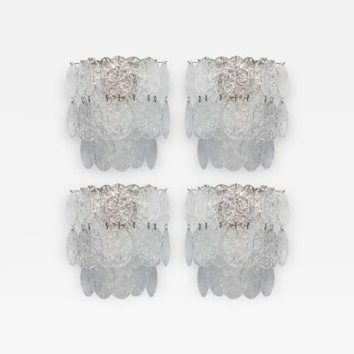 Venini Set of 4 Large Venini Glass Wall Lights Italy 1960s