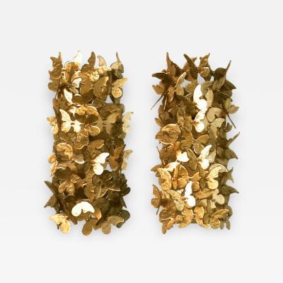 Venini Set of 4 Monumental Gold Glass Butterfly Wall Lights Venini