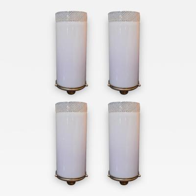Venini Set of Four Italian Sconces w Pink Murano Glass Designed by Venini c 1930s