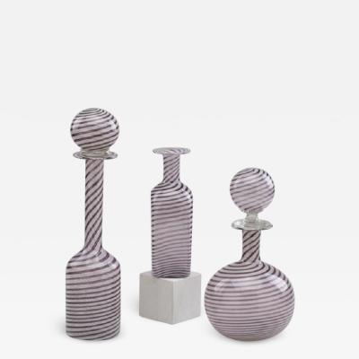 Venini Set of three of Filigrana bottles by Venini