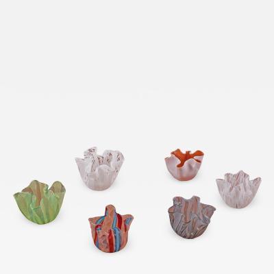 Venini Six mini Venini Murano art glass zanfirico Fazzoletto handkerchief vases